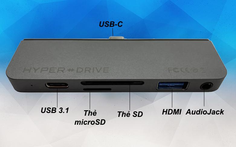 Hub Hyperdrive 6 in 1 HD319B-GR-1 | Kết nối cùng lúc 6 thiết bị