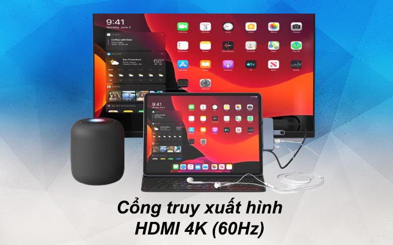 Hub Hyperdrive 6 in 1 HD319B-GR-2 | Cổng truy xuất hình HDMI chất lượng 4K