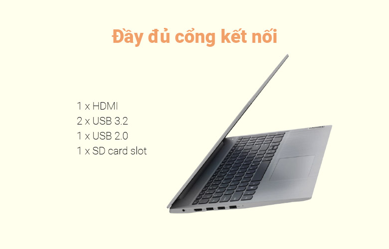 Laptop Lenovo Ideapad 3 15ADA05-81W100GUVN   nhiều cổng kết nối
