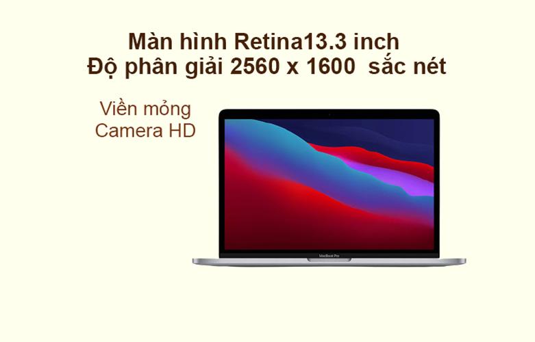 """Laptop MacBook Pro 2020 13.3"""" Z11B000CT (M1/16GB/SSD256GB) (Xám)   Màn hình 13.3 inch, hình ảnh sắc nét"""