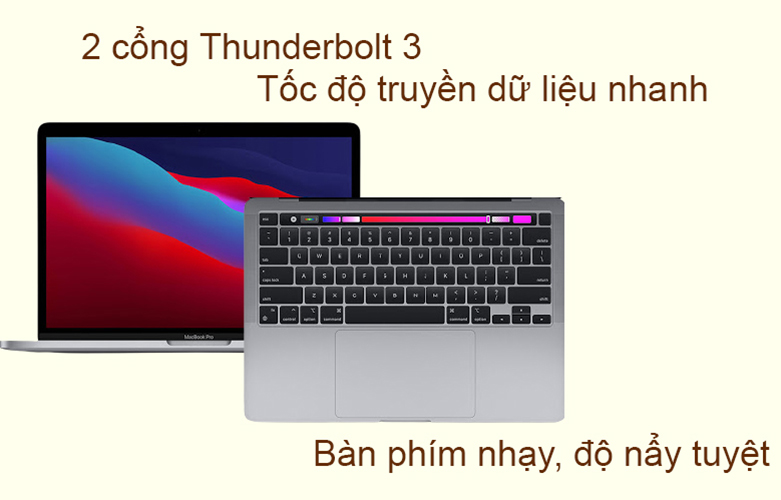 """Laptop MacBook Pro 2020 13.3"""" Z11B000CT (M1/16GB/SSD256GB) (Xám)   Bàn phím hiện đại"""