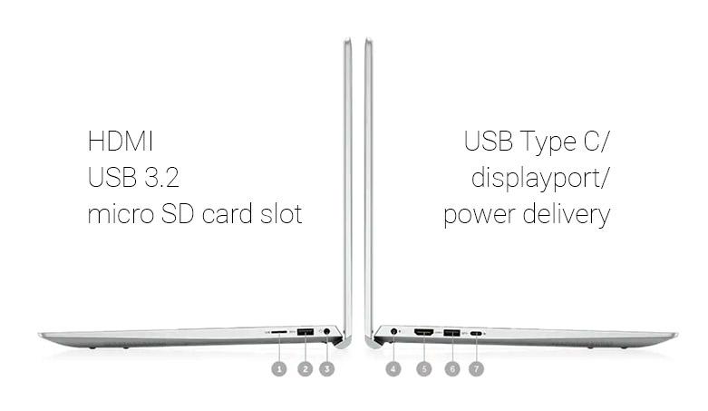 Laptop Dell Inspiron 15 5502 (N5502A-P102F002N5502A) | Cổng kết nối đầy đủ