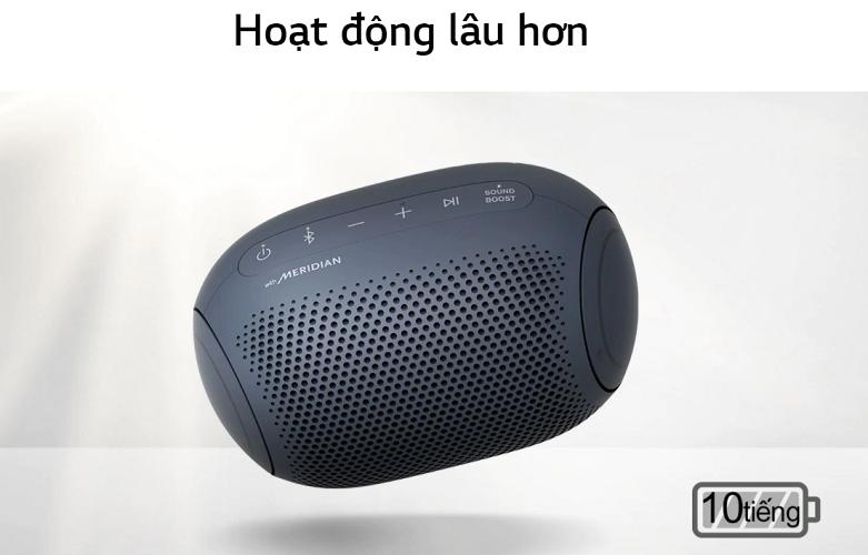 Loa Bluetooth LG PL2 (Xanh Đen) | Thoeì gian sử dụng lâu hơn
