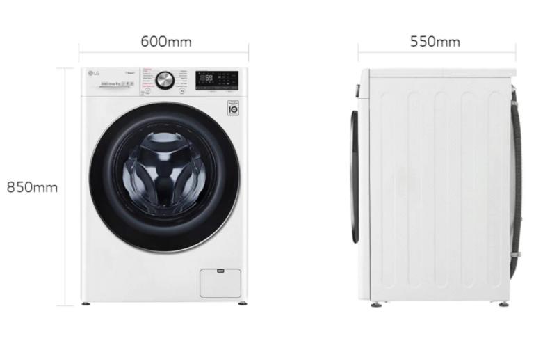 Máy giặt LG Inverter 9 kg FV1409S3W   Thiết kế hiện đại