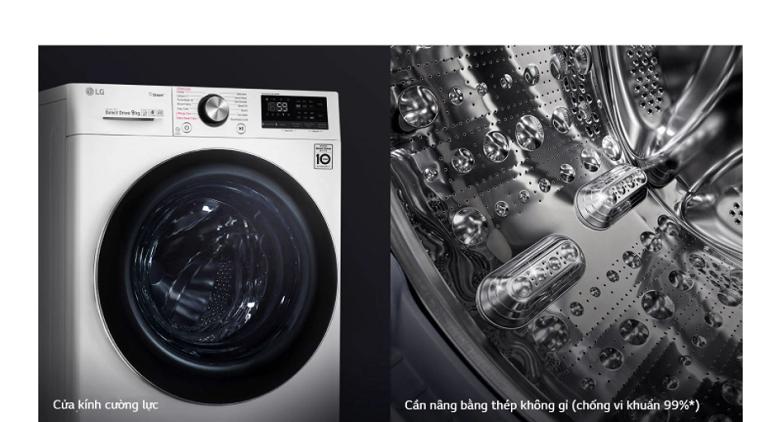Máy giặt LG Inverter 9 kg FV1409S3W   Thiết kế thông minh