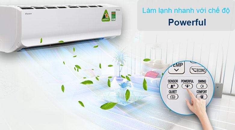 Máy lạnh Daikin Inverter 1.5 HP ATKC35UAVMV | Làm lạnh nhanh với chế độ Powerful