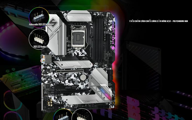 Mainboard Asrock B460 Steel Legend | Hệ thống LED RGB