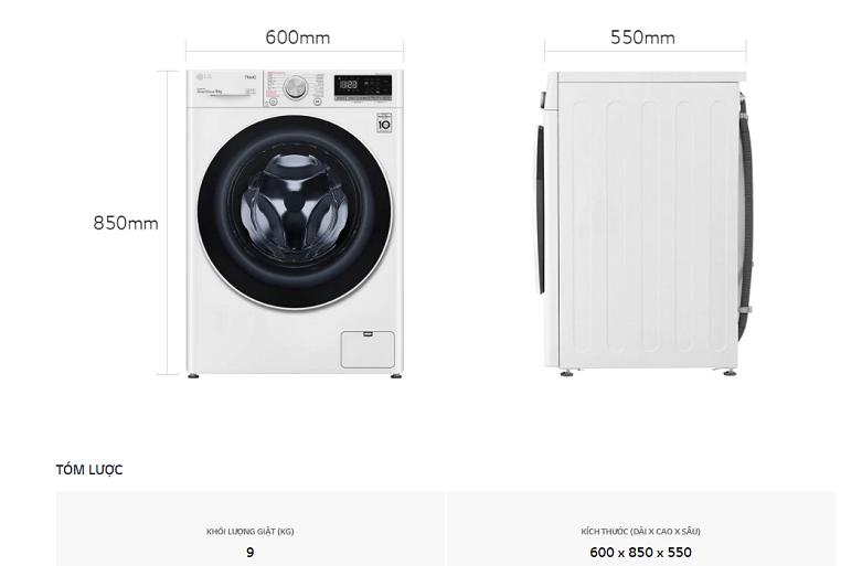 Máy giặt LG Inverter 9 kg FV1409S4W | Thiết kế thông minh nhỏ gọn