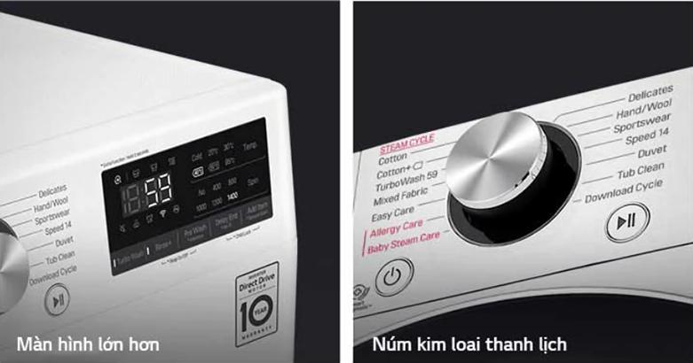 Máy giặt LG Inverter 9 kg FV1409S2W   Thiết kế thông minh