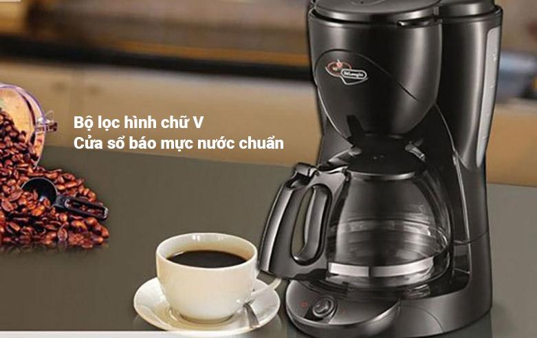 Máy pha cà phê Delonghi ICM2.1B | Bộ lọc hình chữ V, cửa sổ báo mực nước