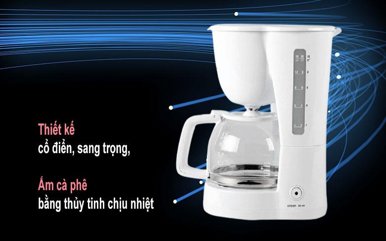 Máy pha cà phê Electrolux ECM1303W   Thiết kế cổ điển, sang trọng, ấm cà phê bằng thủy tinh chịu nhiệt
