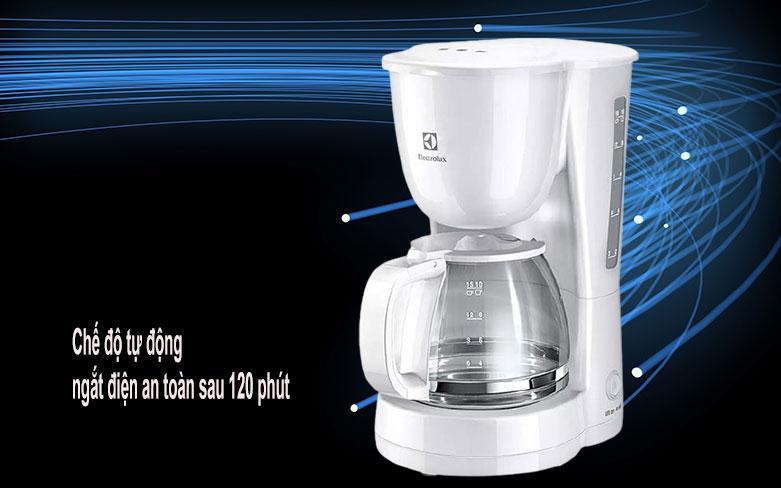 Máy pha cà phê Electrolux ECM1303W   chế độ tự động ngắt điện an toàn sau 120 phút không sử dụng
