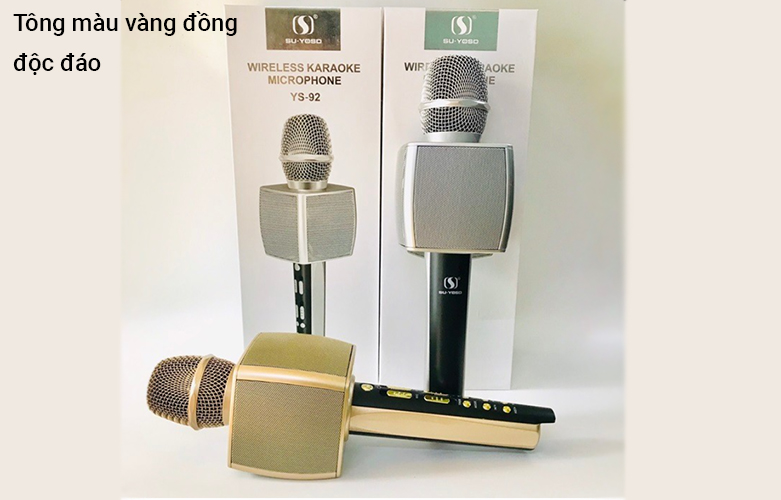 Mic karaoke YS-92 SUYOSD (Vàng)   Tông màu vàng đồng độc đáo