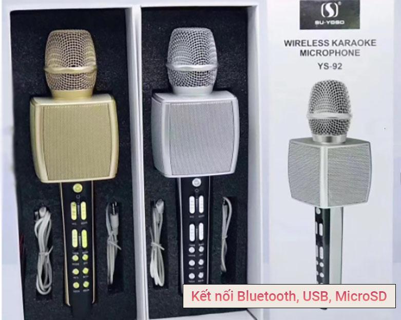 Mic karaoke YS-92 SUYOSD (Vàng)   Kết nối Bluetooth