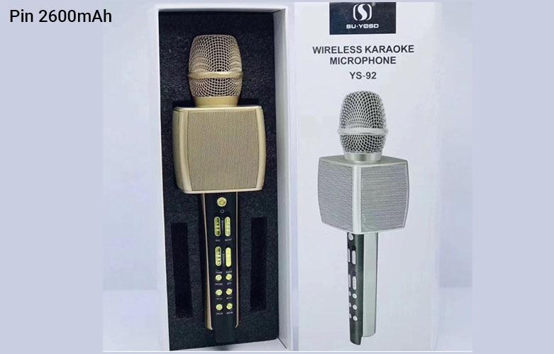 Mic karaoke YS-92 SUYOSD (Vàng)   Dung lượng pin 2600 mAh