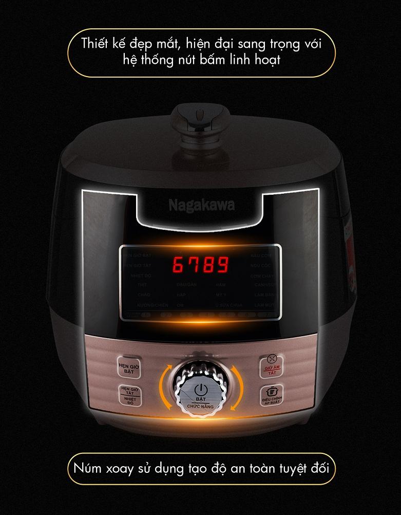 Nồi áp suất điện tử Nagakawa NAG0201 (Đồng) | Bảng điều khiển điện tử dễ dàng sử dụng, đa chức năng khi nấu nướng, chế biến món ăn