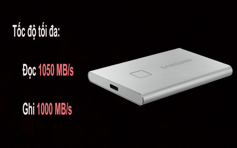 Ổ cứng SSD Samsung Portable T7 Touch 500GB (MU-PC500S/WW) (Bạc) | Tốc độ cao