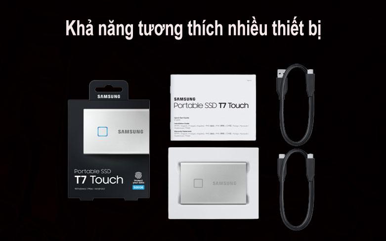Ổ cứng SSD Samsung Portable T7 Touch 500GB (MU-PC500S/WW) (Bạc) | tương thích với nhiều thiết bị