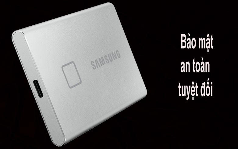 Ổ cứng SSD Samsung Portable T7 Touch 500GB (MU-PC500S/WW) (Bạc) | Bảo mật tuyệt đối