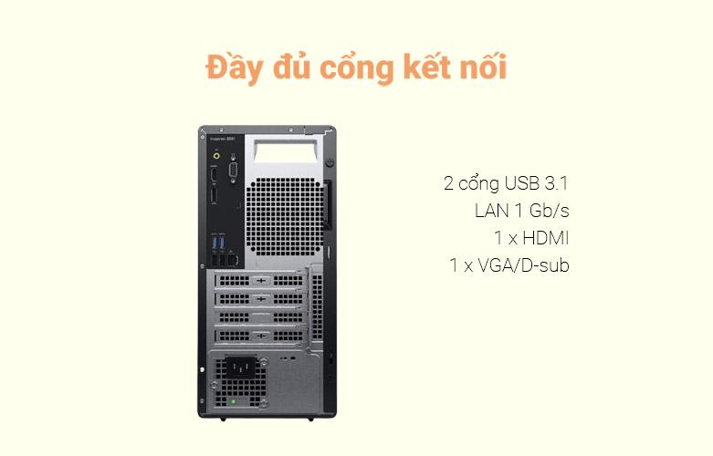 PC Dell Inspiron 3881 MT (MTI51206W-8G-256G+1T) | Đầy đủ cổng kết nối