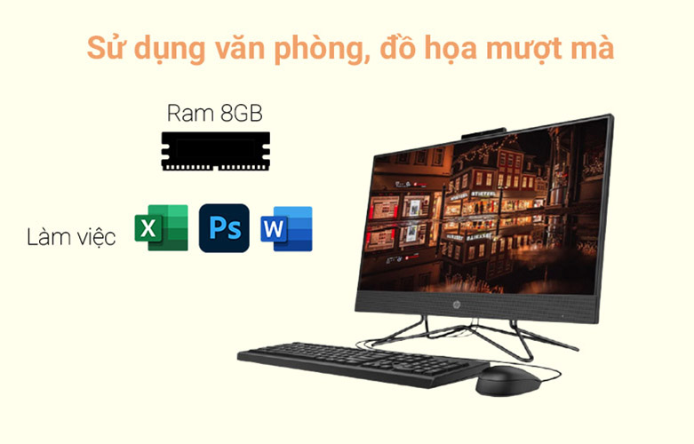 PC HP AIO 205 Pro G4 (31Y21PA)   Sở hữu bộ RAM 8GB DDR4