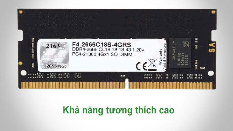 Bộ nhớ laptop DDR4 G.Skill 4GB (2666) F4-2666C18S-4GRS | Khả năng tương thích cao
