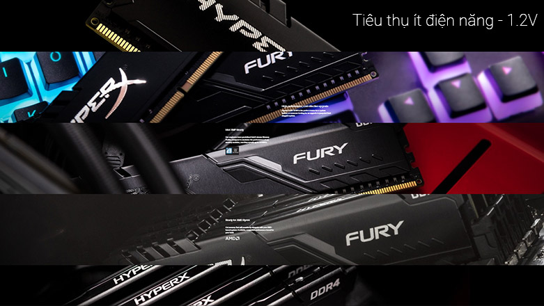 Ram DDR4 Kingston HyperX Fury Black 8GB (3000) (HX430C15FB3/8) | tiêu thụ ít điện năng 1.2V
