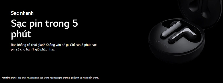 Tai Nghe Bluettooth LG HBS-FN4 (Đen) | Công nghệ sạc pin nhanh