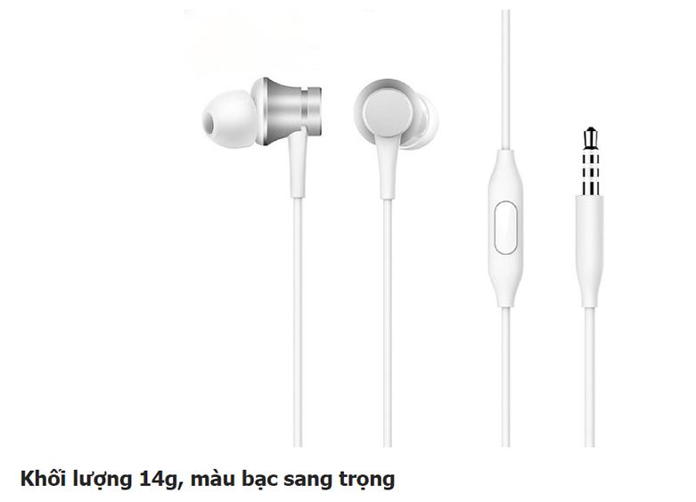 Tai nghe Xiaomi Mi Basic (Bạc) || Khối lượng 14g, màu bạc sang trọng