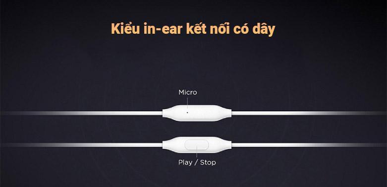 Tai nghe Xiaomi Mi Basic (Bạc) || Kiểu in-ear kết nối có dây