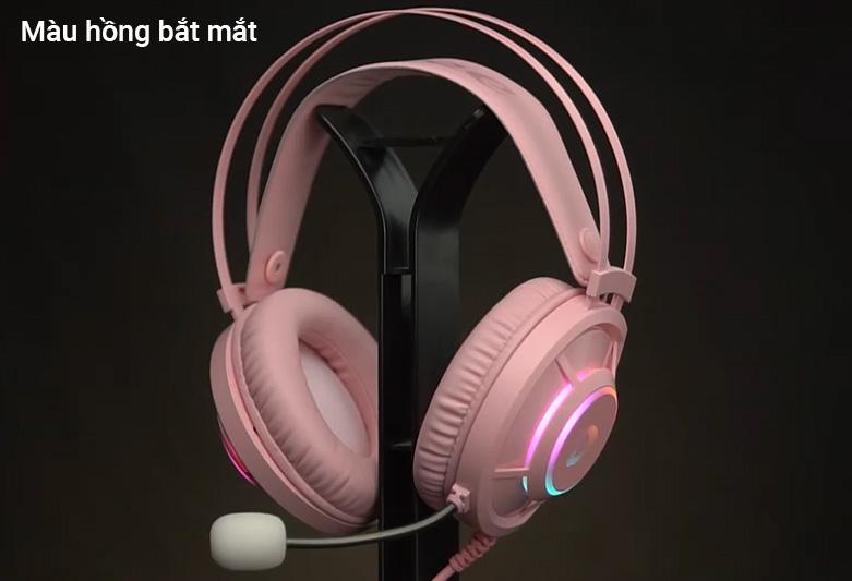 Tai nghe gaming DareU EH469 Queen RGB Hồng ||  Sở hữu màu hồng bắt mắt