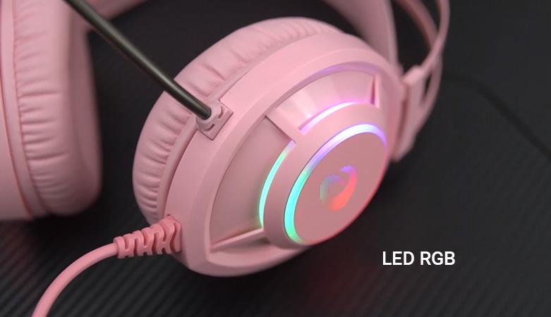 Tai nghe gaming DareU EH469 Queen RGB Hồng || Hệ thống đèn LED chiếu sáng RGB
