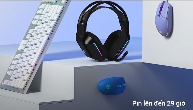Tai nghe không dây gaming Logitech G733 Lightspeed RGB (Đen)   dung lượng pin lên đến 29 giờ