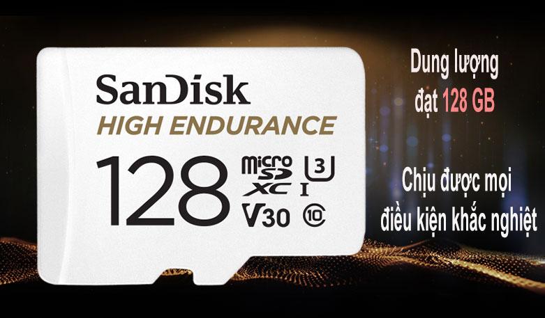 Thẻ nhớ SanDisk High Endurance microSDX 128Gb SDSQQNR-128G-GN6IA (Có adaptor) | Dung lượng 128 GB, chịu được mọi điều kiện khắc nghiệt
