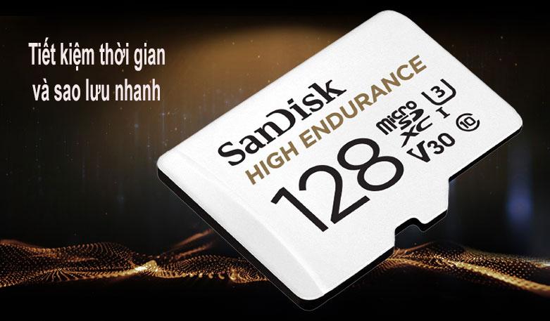 Thẻ nhớ SanDisk High Endurance microSDX 128Gb SDSQQNR-128G-GN6IA (Có adaptor) | tiết kiệm thời gian và sao lưu nhanh