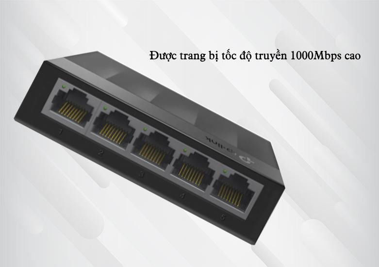 Switch TP-Link LS1005G 5-Port 10/100/1000Mbps | Được trang bị tốc độ truyền 1000Mbps cao