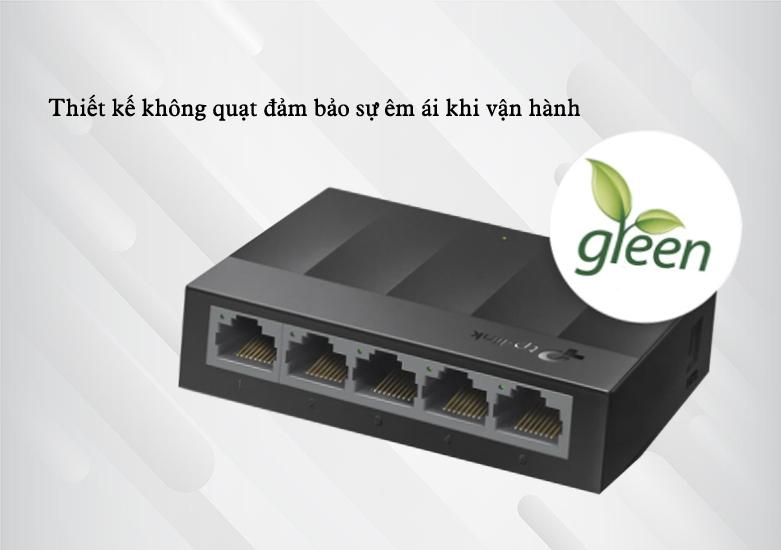 Switch TP-Link LS1005G 5-Port 10/100/1000Mbps | thiết kế không quạt đảm bảo sự êm ái khi vận hành