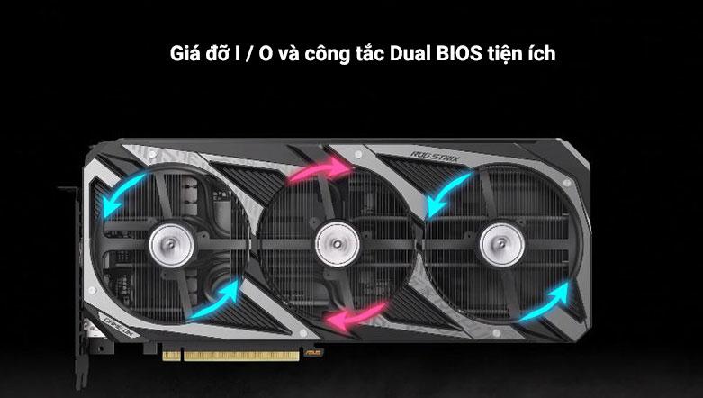 VGA ASUS ROG Strix GeForce RTX 3060 12G | Giá đỡ I / O được làm bằng thép