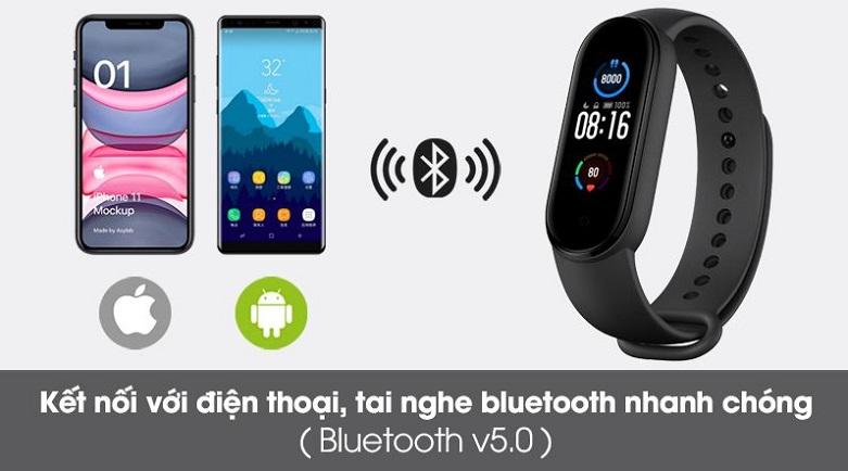 Vòng Đeo Tay Thông Minh Xiaomi Mi Smart Band 5 (BHR4215GL) (Đen) | kết nối qua cổng bluetooth (v5.0)