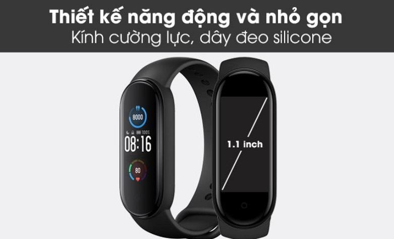 Vòng Đeo Tay Thông Minh Xiaomi Mi Smart Band 5 (BHR4215GL) (Đen) | Thiết kế nhỏ gọn