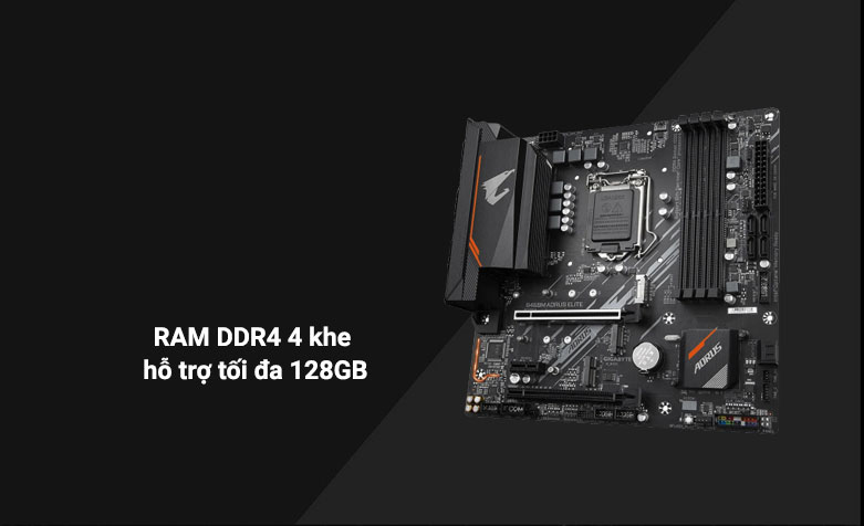 Mainboard Gigabyte B460M Aorus Elite | Hỗ trợ 4 khe RAM DDR4