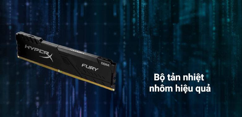 Ram DDR4 Kingston HyperX Fury Black 16GB (3200) (HX432C16FB4/16) | Bộ tản nhiệt nhôm hiệu quả