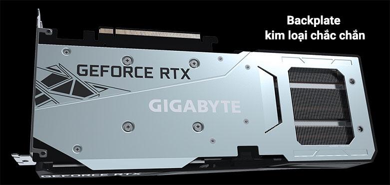 VGA Gigabyte GeForce RTX 3060 GAMING OC 12G | Phần backplate làm bằng kim loại