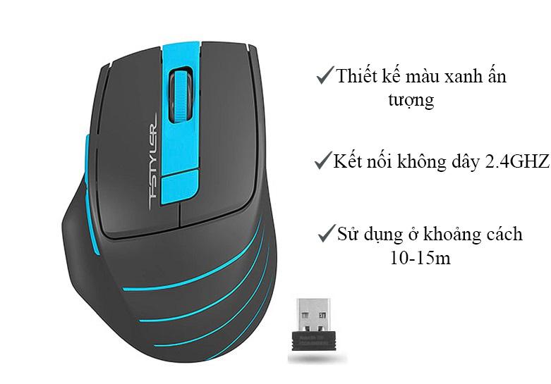 Chuột máy tính không dây A4Tech FG30S Silent (Xanh) | Thiết kế đẹp bắt mắt