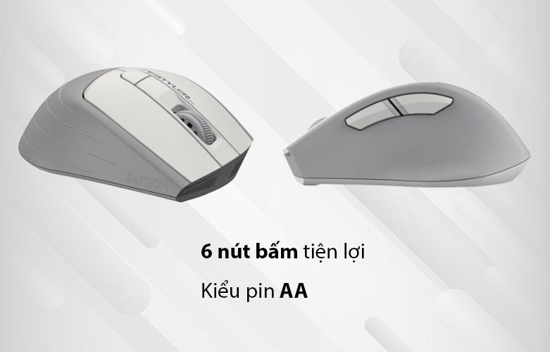 Chuột máy tính không dây A4Tech FG30S Silent (Trắng) | 6 nút bấm, kiểu pin AA