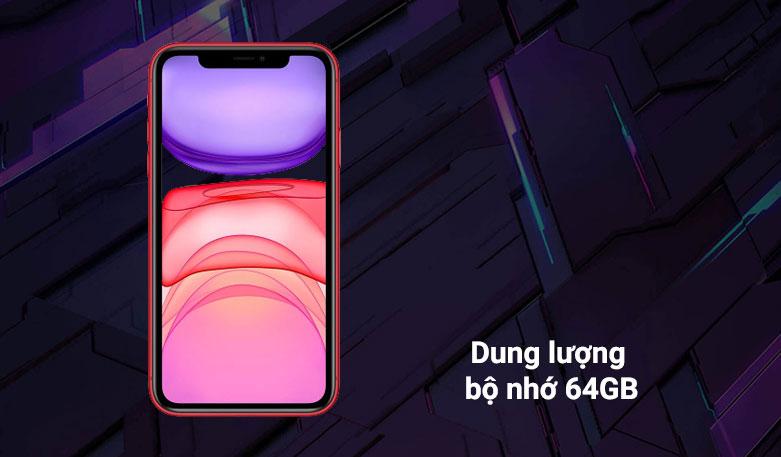 Điện thoại di động iPhone 11 64GB (RED) (MHDD3VN/A)   Dung lượng bộ nhớ 64GB