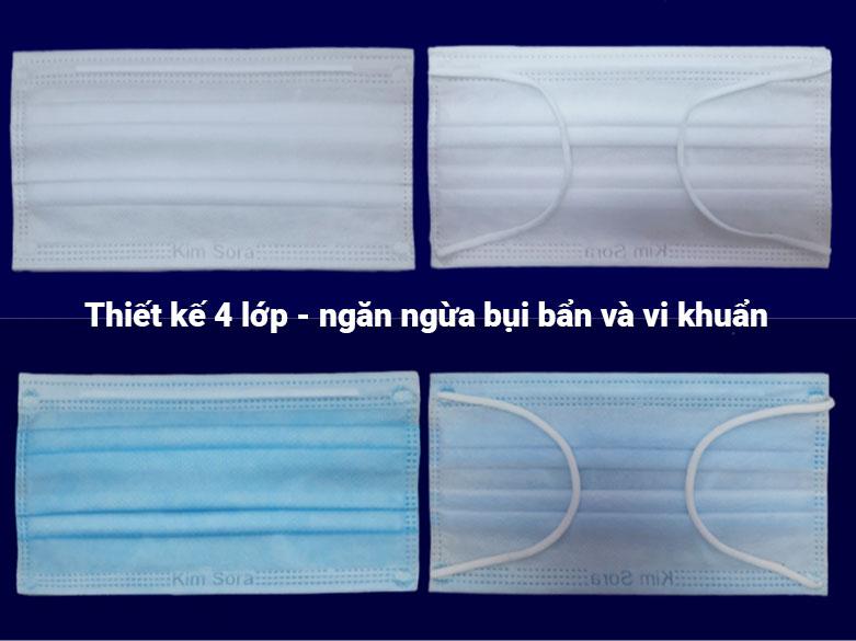 Khẩu trang vải kháng khuẩn 4 lớp Kim Sora (Hộp)   Khẩu trang được thiết kế 4 lớp