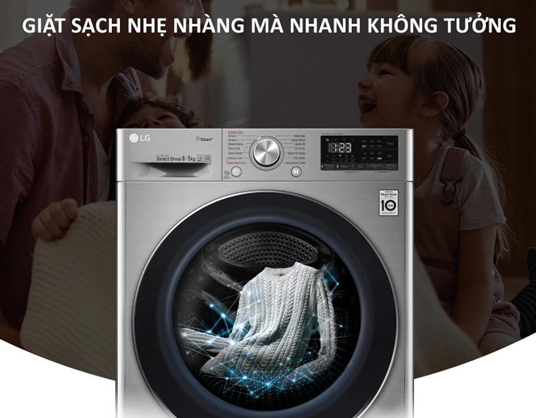 Máy giặt sấy LG Inverter 9 kg FV1409G4V | Công nghệ giặt 6 chuyển động