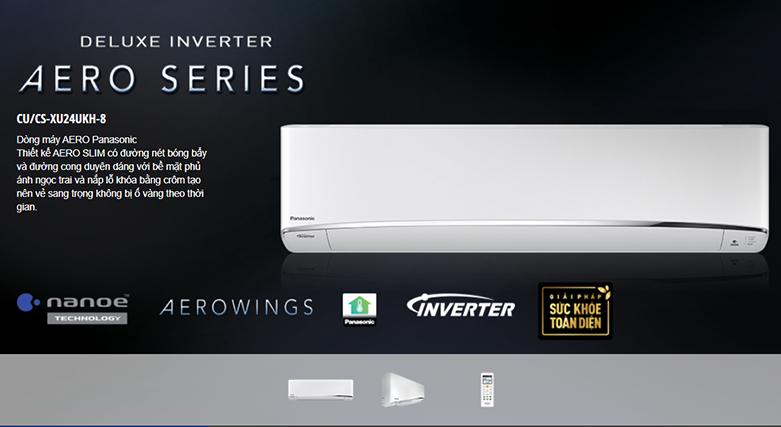 Máy lạnh Panasonic Inverter 2.5 HP CU/CS-XU24UKH-8   Kiểu dáng treo tường sang trọng