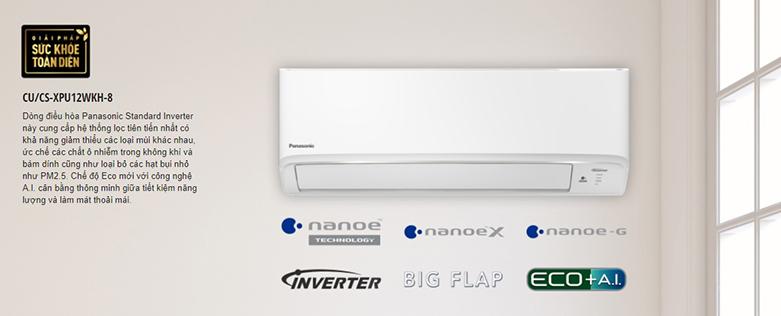 Máy lạnh Panasonic CU/CS-XPU12XKH-8 Inverter 1.5 HP (12000Btu)   Phù hợp với các không gian nhỏ